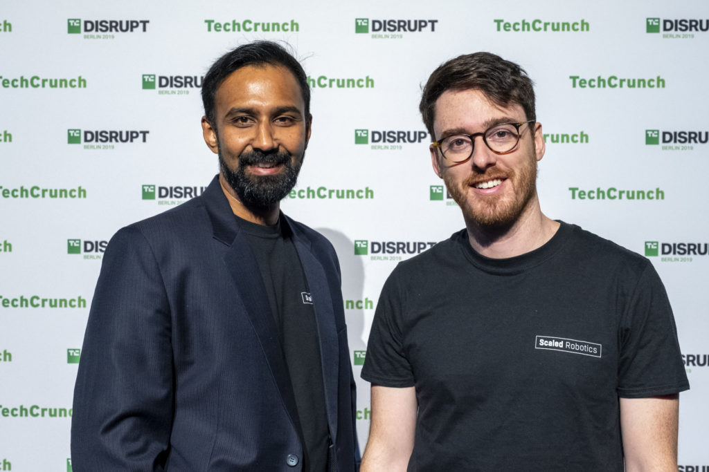 Scaled Robotics CTO Bharath Sankaran and CEO Stuart Maggs after winning TechCrunch Disrupt Berlin 2019