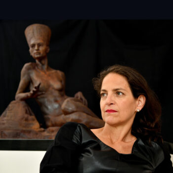 """Dr Gindi with """"Transfigured Immortality"""" (Image source: Dr Gindi's website)"""